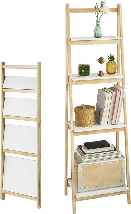 SoBuy® Estantería de escalera, estantería modular de madera de ...
