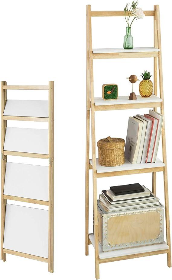 SoBuy® Estantería de escalera, estantería modular de madera de hevea, plegable, FRG162-N,Italiano: Amazon.es: Hogar