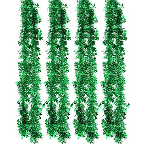 Zhanmai 4 Pieces Shamrock Tinsel Garland St. Patrick's Day Tinsel for Tree, Home and Party Decoration, 26 ft Totally]()