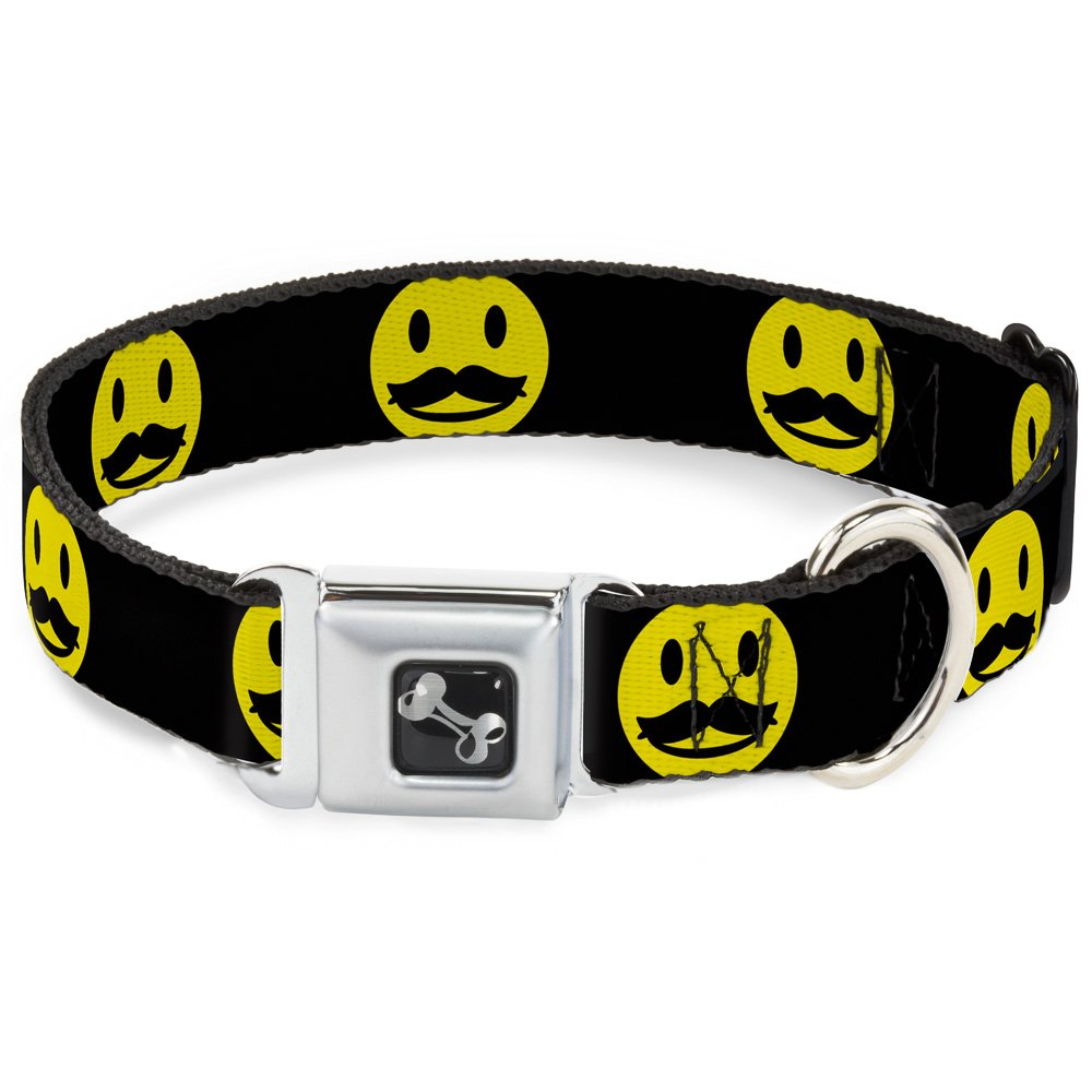 Buckle-Down 16-23  Mustache Happy Face2 Black Yellow Black Dog Collar Bone, Wide Medium
