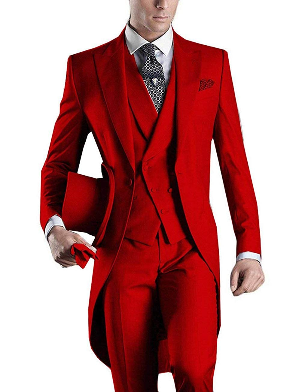 a25c3496f846 DGMJ Mens Suits Slim Fit 3 Piece Formal Wedding Attire Tuxedo Mens Retro  Tailcoats Outfit for Party XZ019 at Amazon Men's Clothing store: