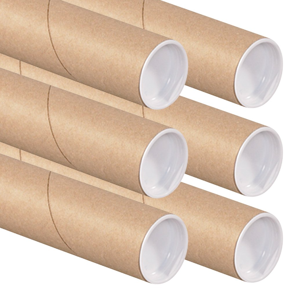 RetailSource P2018K-6 Kraft Mailing Tubes with Caps, 2-Inch by 18-Inch (6 Tubes)