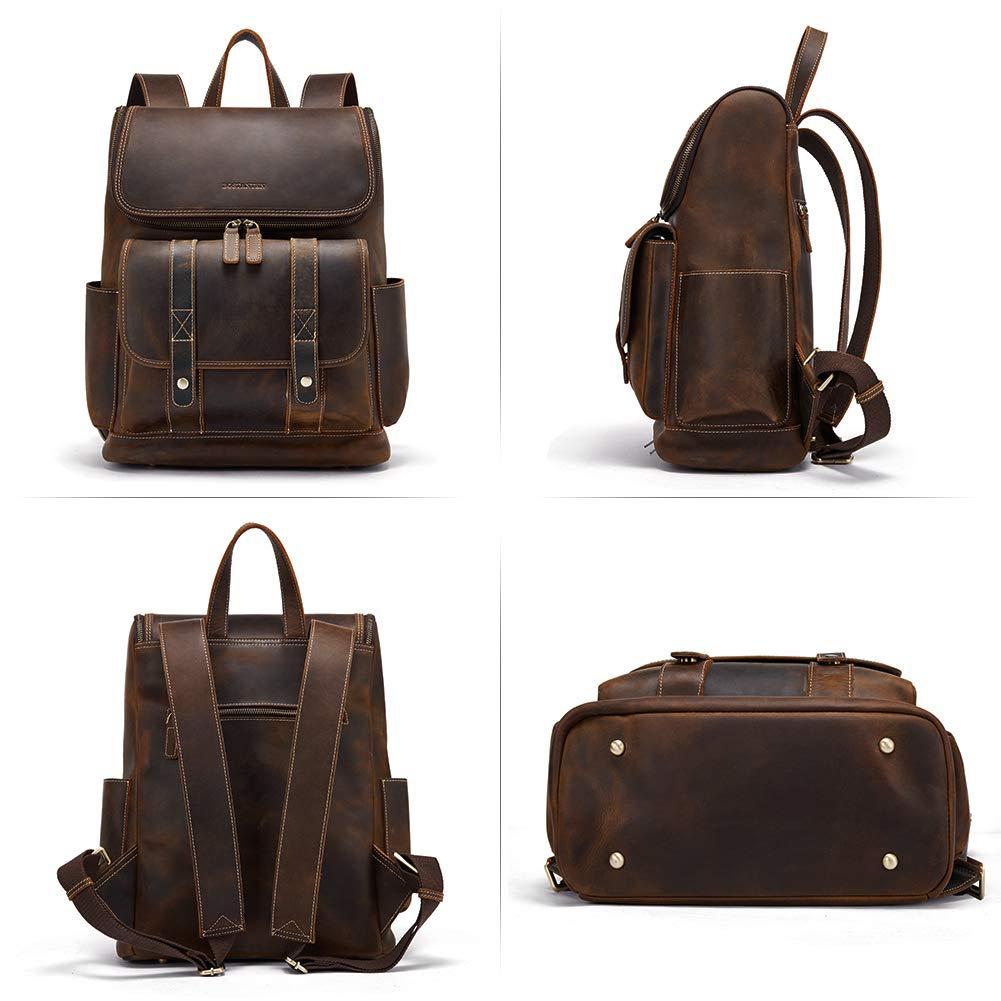 BOSTANTEN Leather Backpack 15.6 inch Laptop Backpack Vintage Travel Office Bag Large Capacity School Shoulder Bag by BOSTANTEN (Image #2)