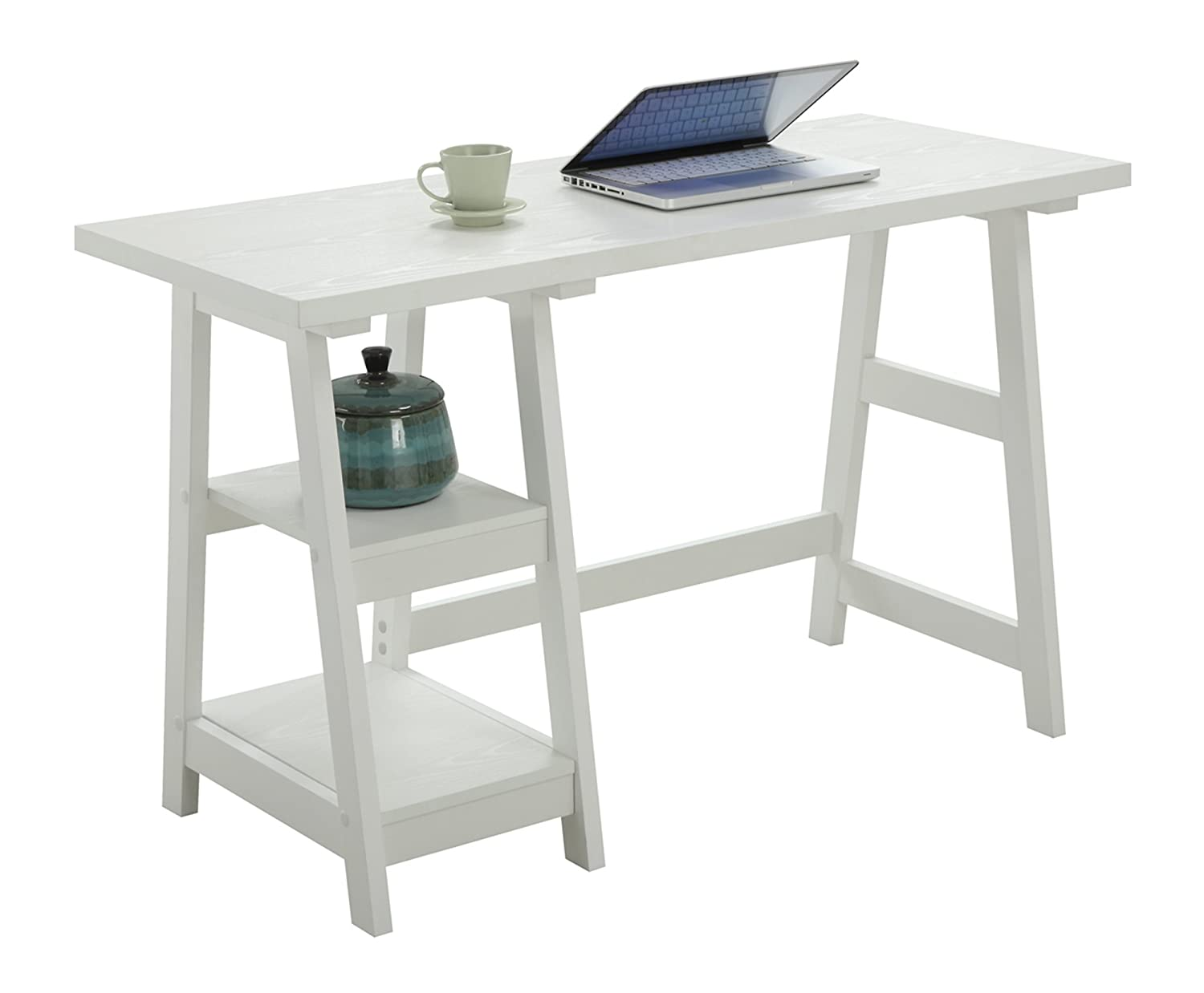 Convenience Concepts 090107W Designs2Go Trestle Desk, White, White