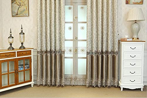 BW0057 European Style Vintage Pattern Embroidery Lace Window Curtain Treatment Rod Pocket Panel Drape Bedroom Living Room Dining Room 1 Panel - a good cheap window curtain panel