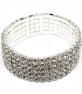 Modeschmuck armband  Modeschmuck - Strass Kristall-Stretch-Armband - Breites Kristall ...