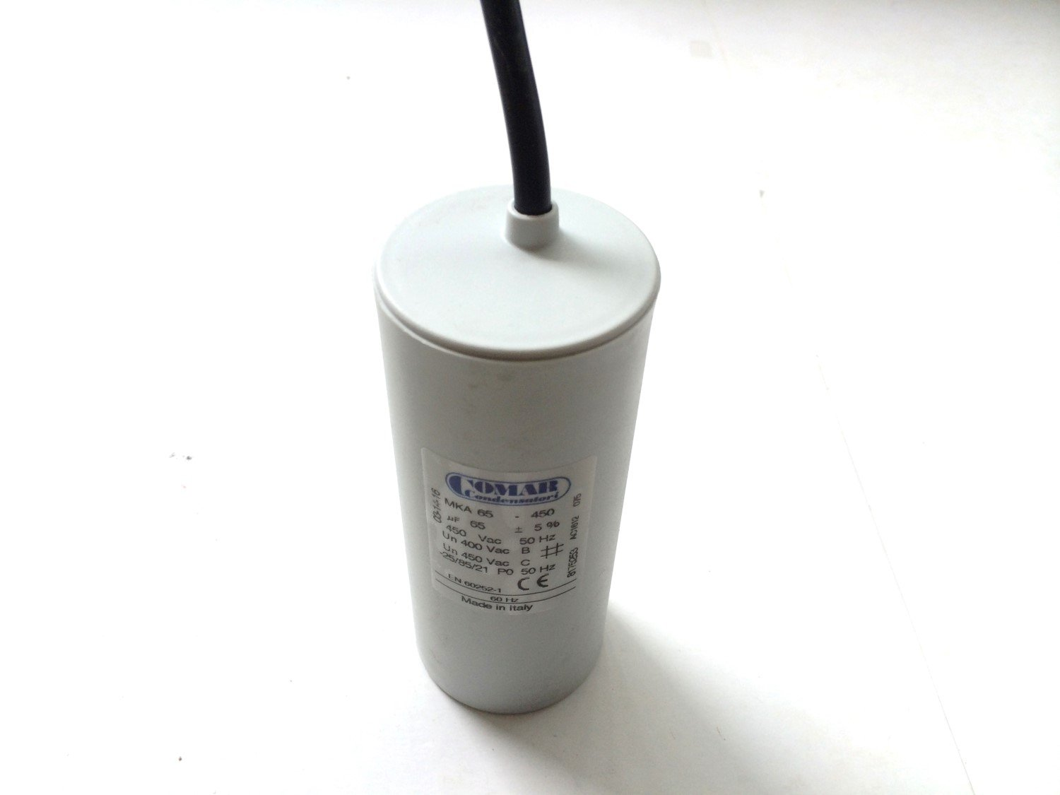 Made in ITALY Motor Comar CONDENSER CAPACITOR wire MKA 65 UF - 62uF ~ 65UF ~ 68uF 63uF 64uF 66uF 67uF 450V Vac Comar Condensatori
