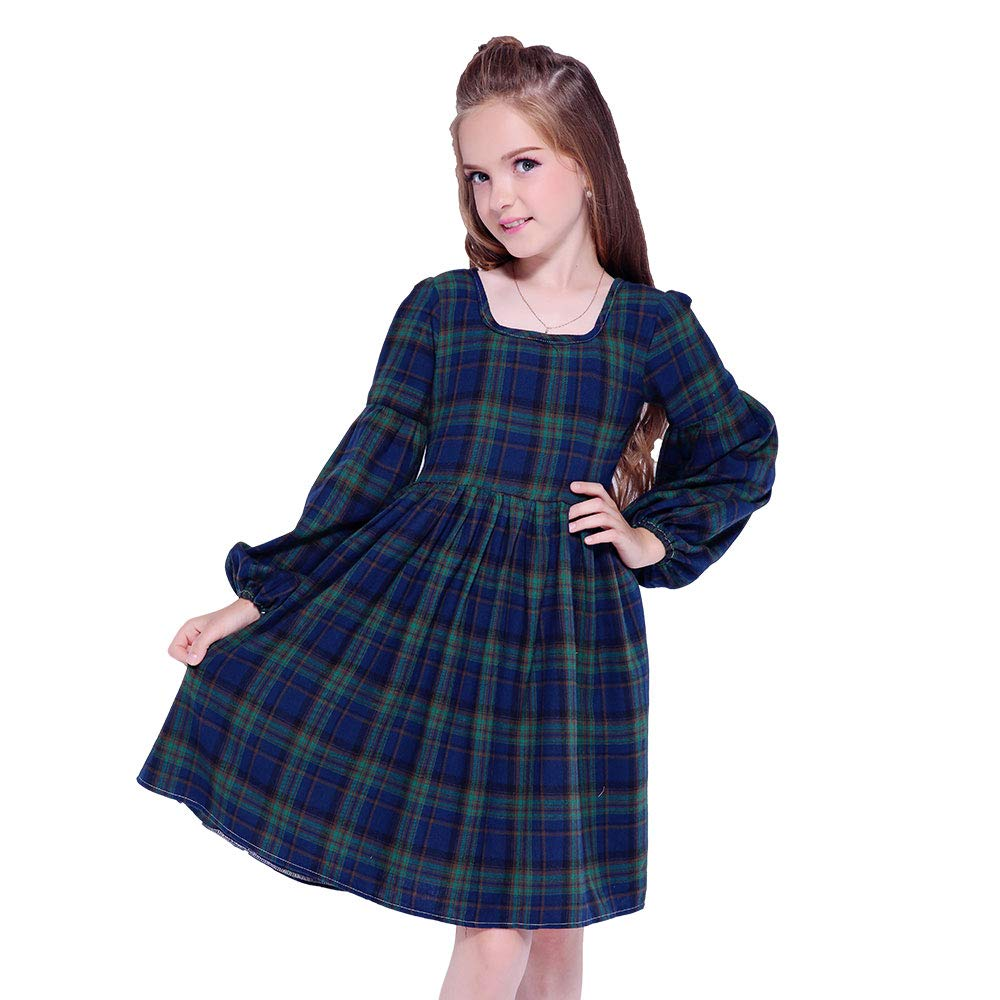 Vintage Style Children's Clothing: Girls, Boys, Baby, Toddler Kseniya Kids Girl Autumn Winter Dress Square Collar Lantern Sleeve $20.99 AT vintagedancer.com