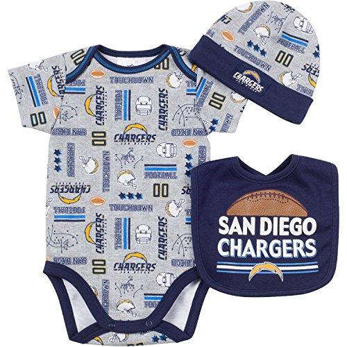 NFL Los Angeles Chargers Unisex-Baby Bodysuit, Bib & Cap Set, Gray, 0-3 Months
