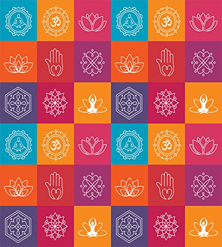 Yoga Duvet Cover Set by Ambesonne, Colorful Collection of Yoga Icons and Relaxation Symbols Wellness Harmony Health Zen, 3 Piece Bedding Set with Pillow Shams, King Size, Multicolor by Ambesonne (Image #1)
