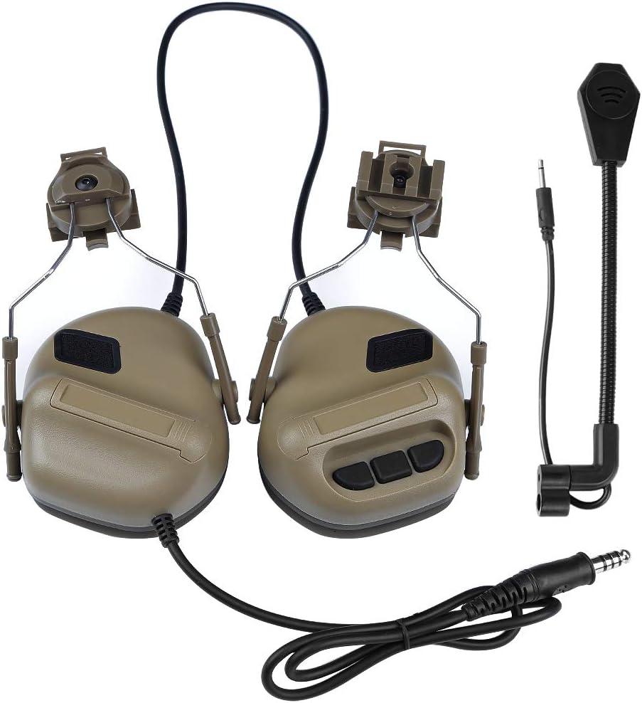 Gexgune Cuffie tattiche con Adattatore per rotaia elmetto rapido Cuffie da tiro Airsoft Militari Accessori di Comunicazione dellEsercito Nessuna Funzione di riduzione del Rumore