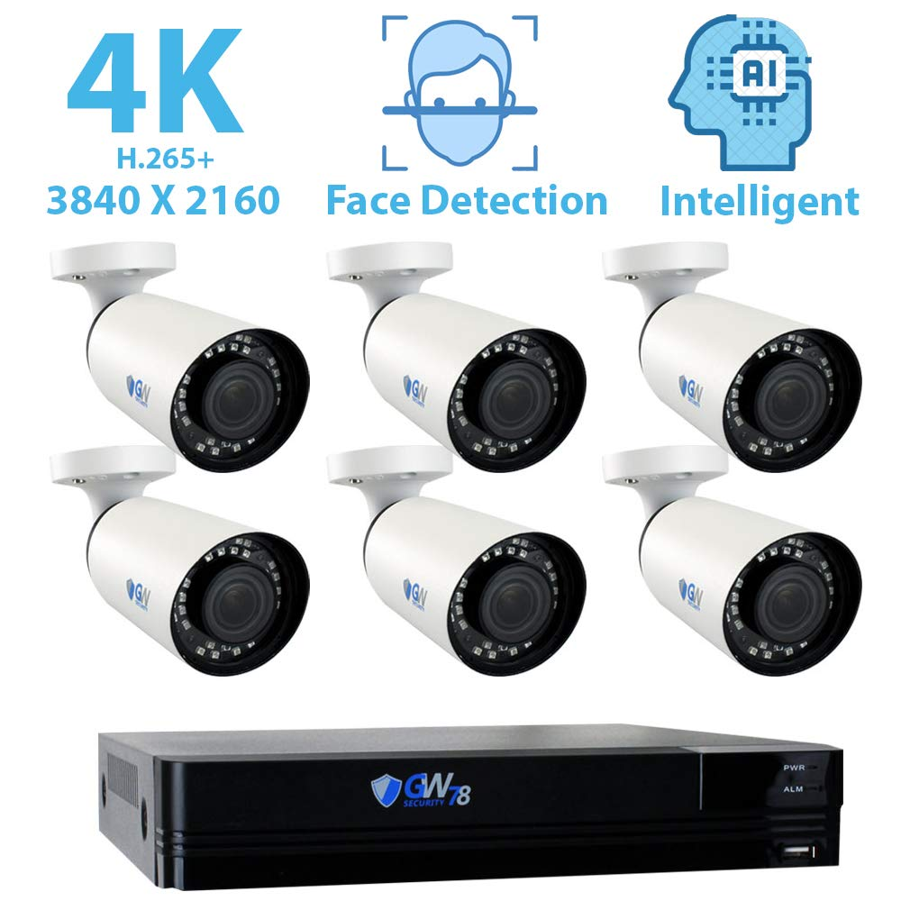 GW Security 8 Channel 4K NVR 8MP 3840×2160 H.265 IP PoE Security Camera System with 6 Outdoor Indoor 2.8-12mm Varifocal Zoom 8.0 Megapixel 2160P Cameras, Face Recognition, IVA, Free Remote View