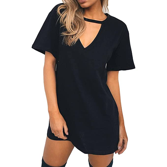 84351a11228 Antopmen Women Sexy V Neck Short Sleeve Choker Mini Dress at Amazon Women s  Clothing store