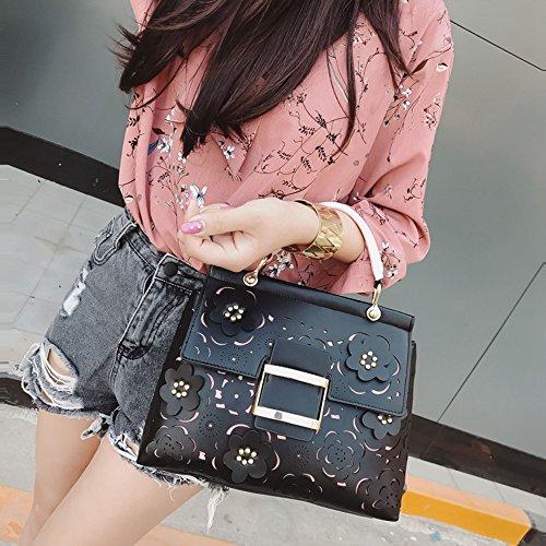 negro Black lujo Women de de Out de moda bolso 2018 Ladies Summer hombro cuero bolsos de flores Pu las bandolera alta de Bolso de SSMENG Hollow Bags calidad mujeres U8Pxwfpf
