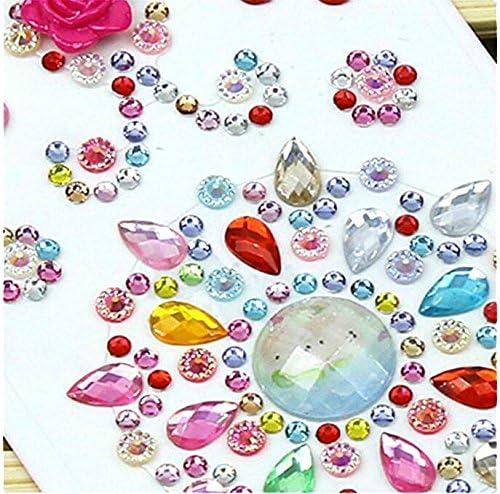 10 Hojas Autoadhesivas Gema De Cristal Adhesivo para Automóvil Teléfono Estuche Decoración