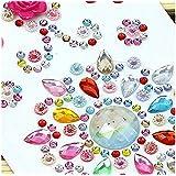 Morkia - Lot de 8feuilles de strass autocollants - Couleurs assorties - Pour décoration, bijoux, artisanat - Formes : Carrés, ronds, cœurs - 1480 Pièces
