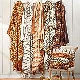 BrylaneHome Faux Fur Animal Print Blanket (Chinchilla Print,King)