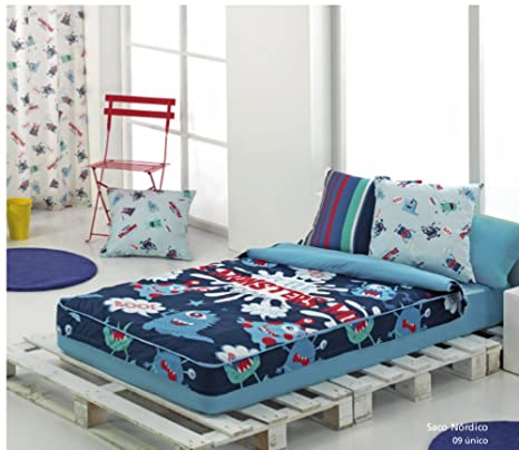 Textilonline - Saco Nordico Con Relleno Monsters (Cama 105 cm, Color Unico)