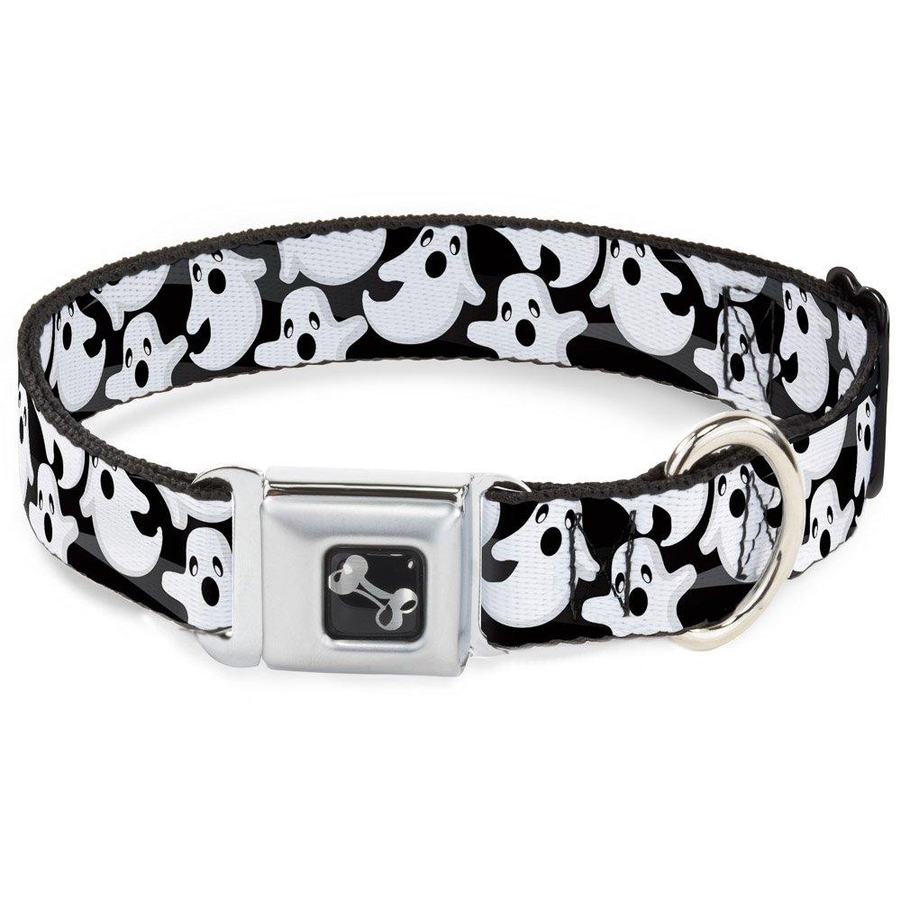 Buckle-Down Ghosts Scattered Black White Dog Collar Bone, Medium 11-17