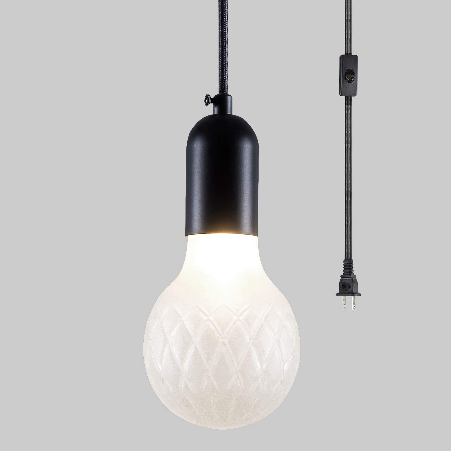 Matte Black Finish Yueju 3 8 Globe Frosted Glass Shade Pendant Lamp For Bedroom Living Room Kitchen Island Outdoor Modern Swag Hanging Lights With Plug In Cord And On Off Switch