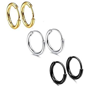 cae55e52a237 3 pares de acero inoxidable para hombre para mujer pendiente del aro  cartílago labio pendientes para