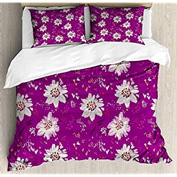 Image of Alandar Home Bedding Sets Duvet Cover 3 Pieces, Mulberry Ultra Soft Bed Quilt Set with 2 Pillowcases for Kids/Teens/Women/Men Bedroom Repetition with Spring Flower Petals and Scandinavian Scribbles