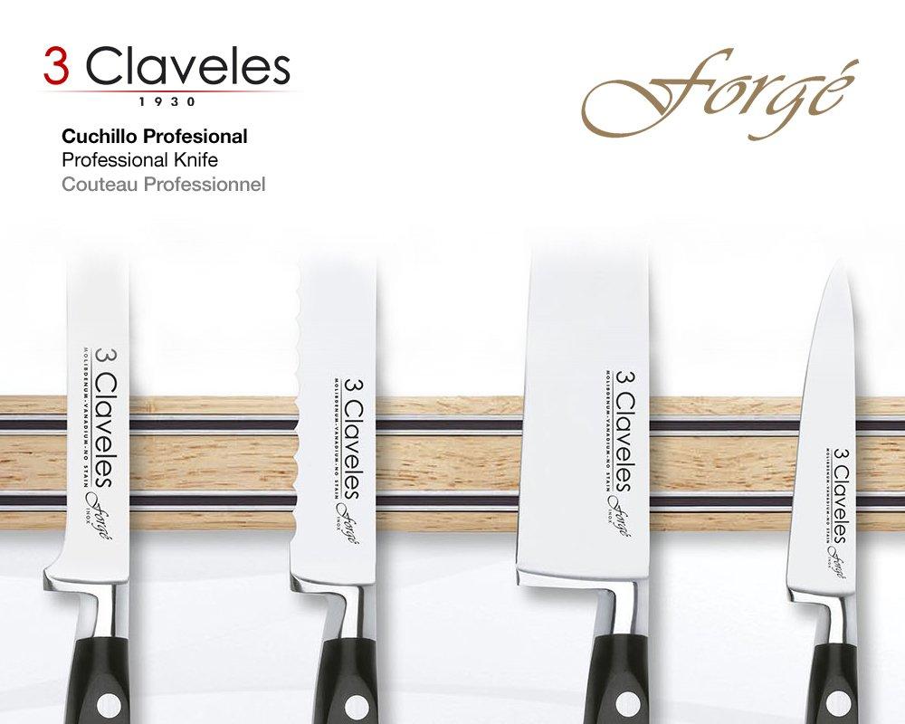 3 Claveles - Juego de Cuchillos Profesionales Selección Master Chef, Gama Forgé Cocineros, Acero Inoxidable Molibdeno Vanadio Forjado en Caliente, ...