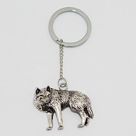Lobo aullando llavero, llavero de lobo plateado