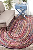 Rugs USA Handmade Braided Cotton Oval Area Rug, 3 by 5 Feet