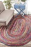 nuLOOM Handmade Braided Tammara 3 by 5 Feet Cotton Oval Area Rug, Multi Color