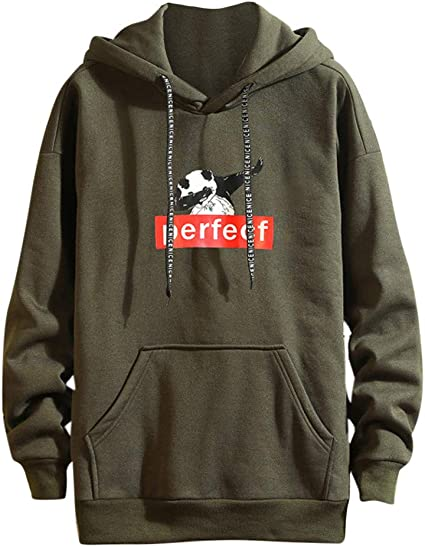 Atezch Fashion Mens Panda Waving Printing Pullover Hoodie Tops Blouse Solid Long Sleeves Casual Sweatshirt T Shirt
