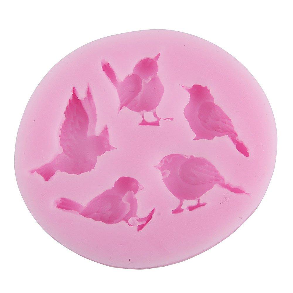 niceEshop(TM) 5 Cavity Bird Shape Party Silicone Cake Molds Decoration Fondant Baking Mold,Pink FEMIHGFJGUGD004
