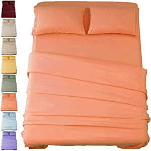 SONORO KATE Bed Sheet Set Super Soft Microfiber 1800 Thread Count Luxury Egyptian Sheets 16-Inch Deep Pocket,Wrinkle and Hypoallergenic-4 Piece (Coral, Queen)