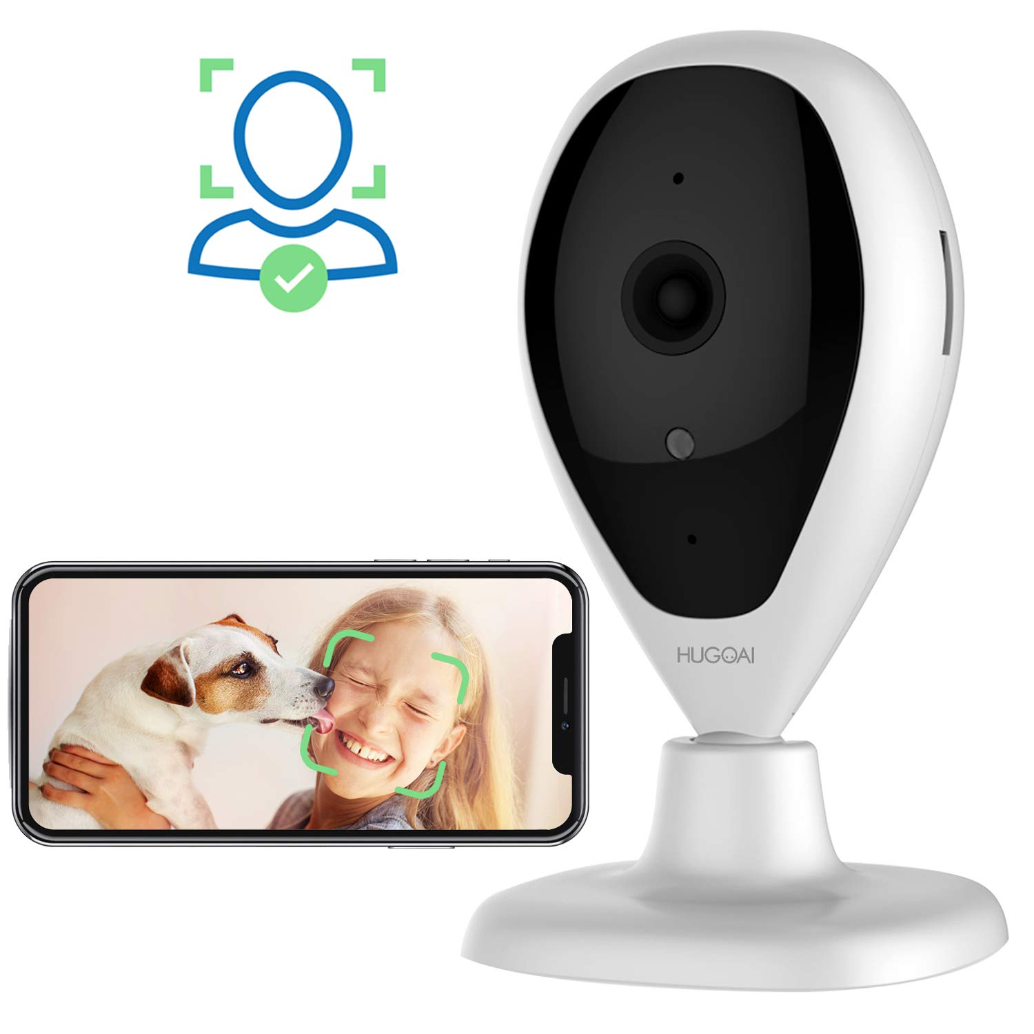 Wireless IP Camera, HUGOAI WiFi 1080P HD Home Security Surveillance Camera with Facial Recognition, Motion Detection, Night Vision, Two Way Audio for Baby Monitor Pet Dog Cameras by HUGOAI