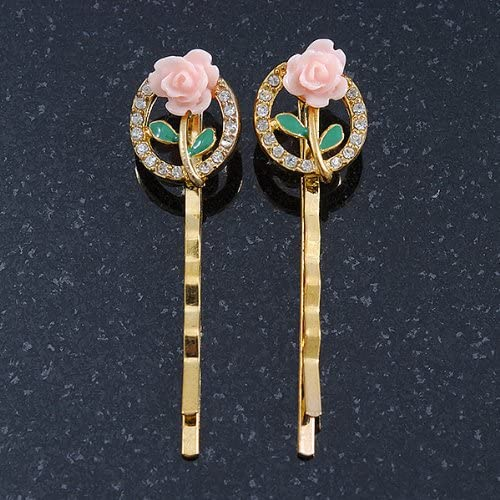2 cristal inspiration Vintage Rose// barrettes /à cheveux Plaqu/é Or 50 mm de diam/ètre