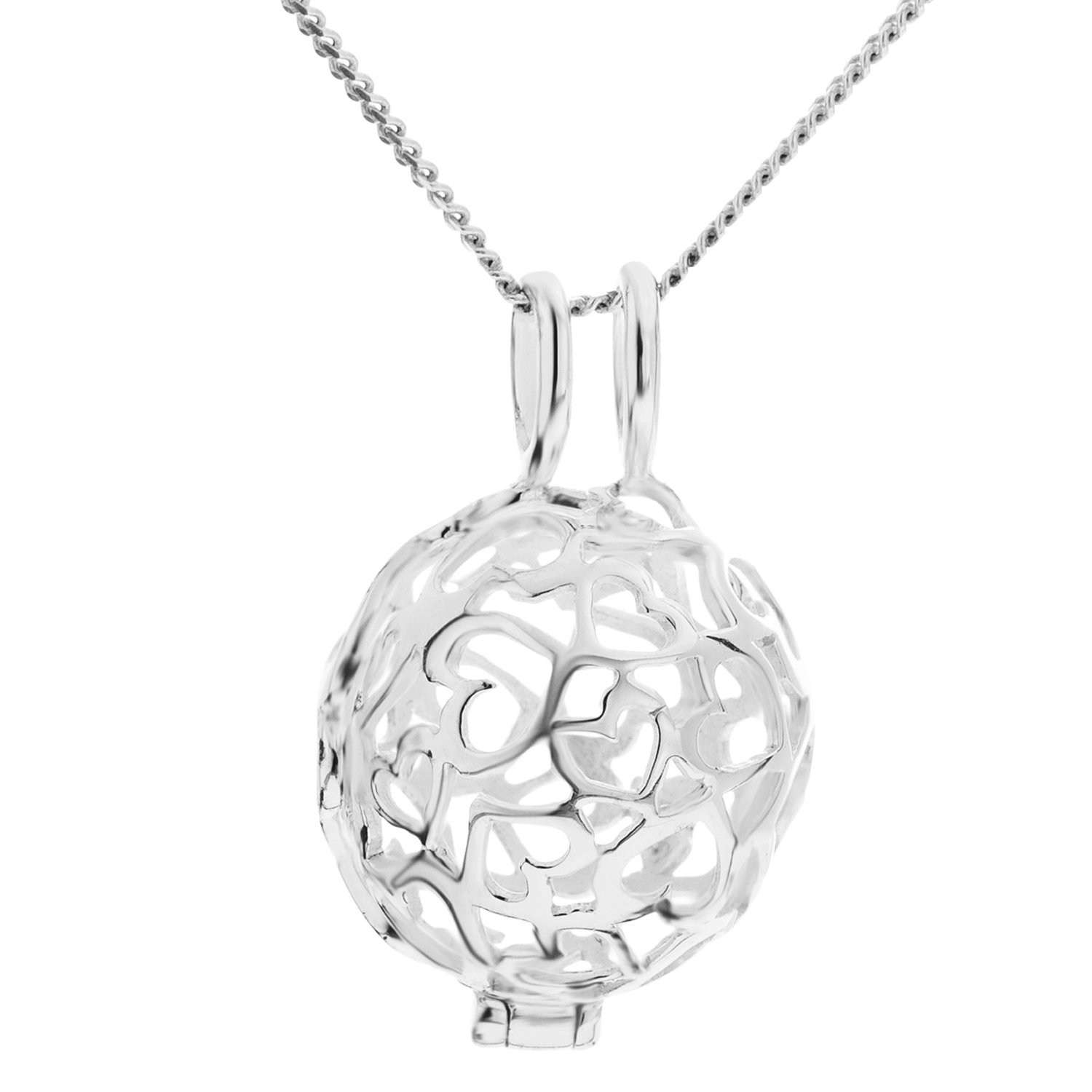 Ornami Sterling Silver Pierced Out Flower Disc Pendant on Chain of 46cm MAGCBpntS