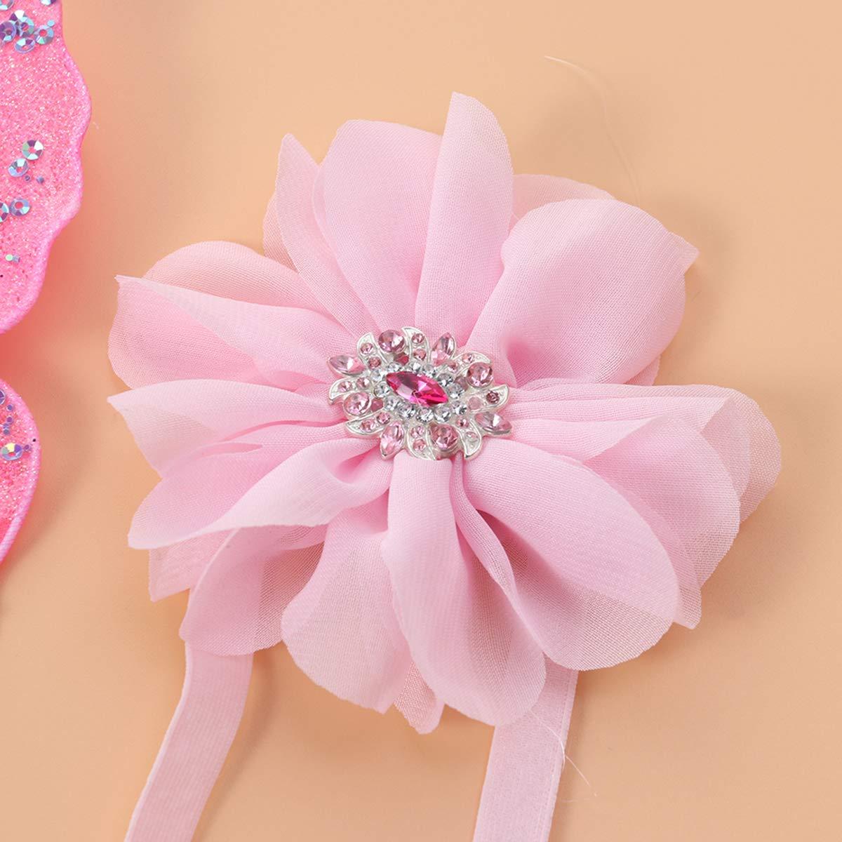 Pink Chiffon Amosfun Fotograf/ía de la Banda de Flores y Lentejuelas con Lentejuelas Mariposa para beb/é reci/én Nacido Traje de fotograf/ía Conjunto