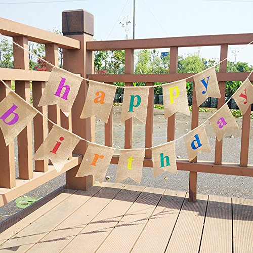 HAPPY BIRTHDAY Burlap Flag Banner, 11.5 Feet Linen Rustic Bunting with 13 PCS Pennants, Printed Garland for Birthday Parties