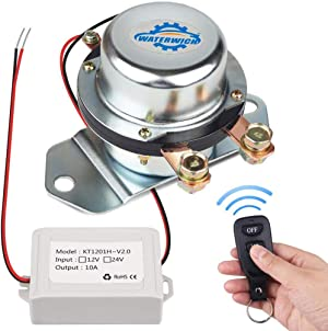 WATERWICH 12V Car Wireless Remote Control Battery Disconnect Switch Cut/Shut Off Marine Battery Switch 180Amp Electromagnetic Valve Terminal System for Van RV Small Truck Agricultural Vehicle