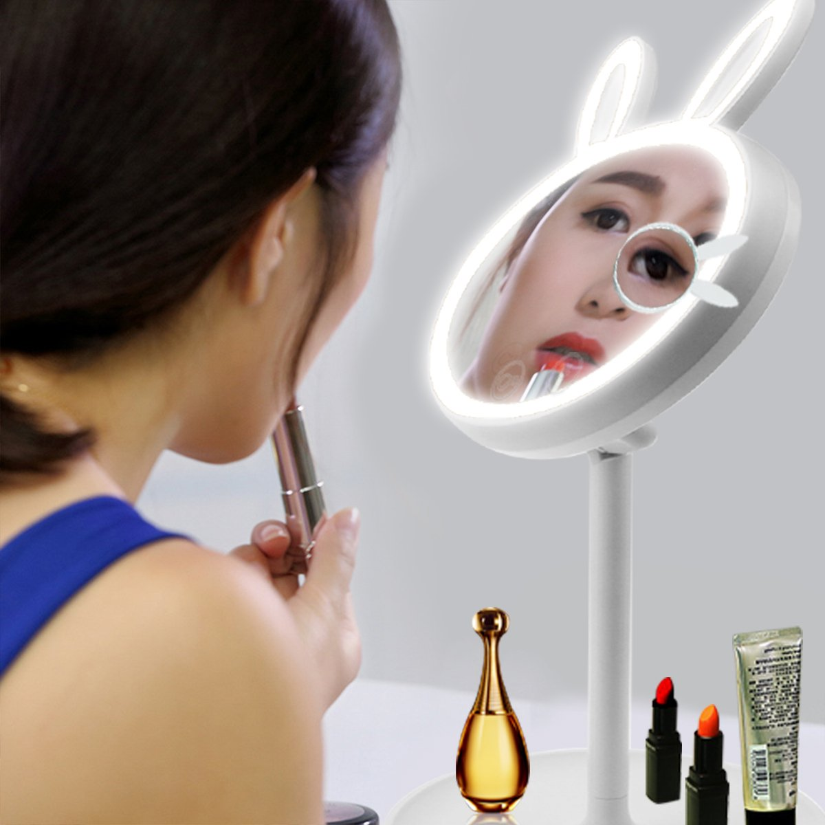 Magnifying Makeup Mirror with Light Rechargeable Adjustable Mirrors Stand Removable Foldable Reading Desk Light.