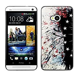 MOBMART Carcasa Funda Case Cover Armor Shell PARA HTC One M7 - Star Splashed Paper Pattern
