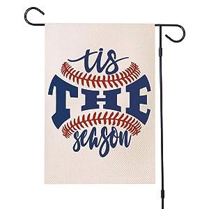 MFGNEH Tis The Season Baseball Garden Flag Vertical Double Sided Sport Softball Yard Outdoor Decor Flag 12x18 Inch