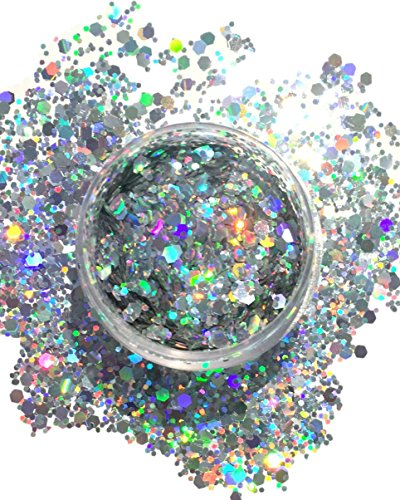 Silver Holographic Chunky Glitter Large 15G Comestic Glitter Festival Rave Face Body Hair Nails