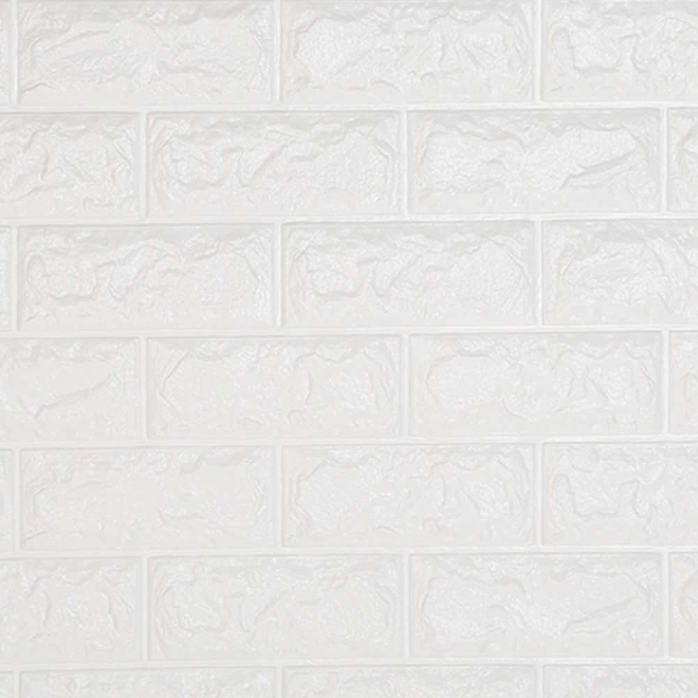 3D Wall Panels Stickers White Brick For Living Room Bedroom Kids Children's Room, Self Adhesive Peel&Stick Faux Foam Bricks Wallpaper 8 PACK by POPPAP (Image #2)