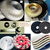 3/4'' Diamond Ogee Bullnose Router Bit Profiling wheel 4'' Polishing Pad aluminum backer grinding cup glass mosaic edge stone marble granite travertine concrete quartz countertop grinder polisher