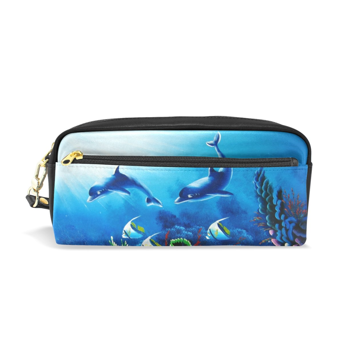 94587d7e0179 FeiHuang Shark Leather Student Pencil Case Pen Cosmetic Bag for ...