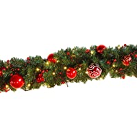 Ariv Christmas Garland 270CM 9FT Xmas Decoration Garlands with Red and Gold Tree Baubles Balls for Xmas Door Window Wall Party Fireplace Decoration Ornaments Kerris S427