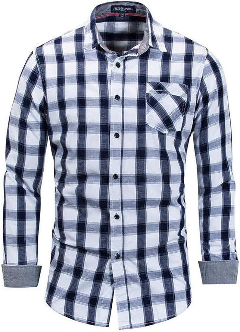 Valoda Men Plus Size One Pocket Button Down Plaid Long Sleeve Cotton Shirts