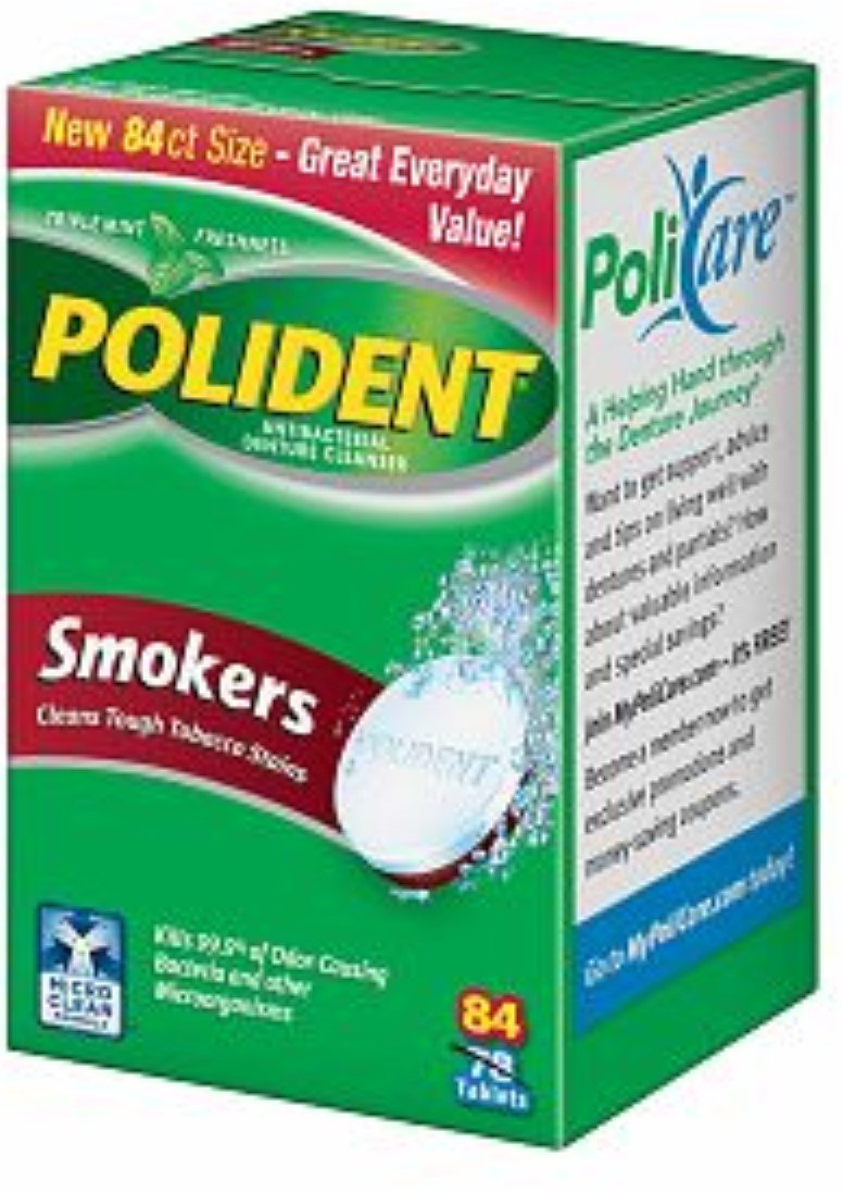 Polident Smokers, Antibacterial Denture Cleanser 84 ea (Pack of 4)