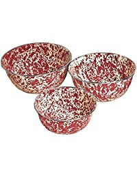 Acquisition Enamelware 3 Piece Mixing Bowls with Stainless Steel Rim - Burgundy / Cream Marble save
